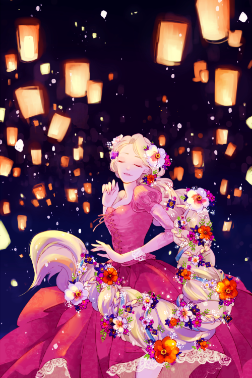 "utadasam72:  Rapunzel Dancing in the Lights ( Tangled ) By: ""±13"""