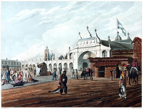 The market place of Buenos Aires.  From Picturesque illustrations of Buenos Ayres and Monte Video, written and illustrated by Emeric Essex Vidal, London, 1820.  (Source: archive.org)