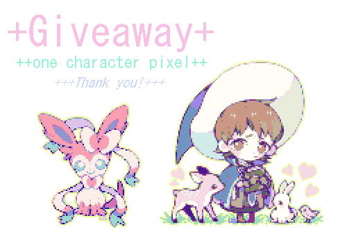 "kimqi:  Mini Pixel Giveaway~ ahh recently I've gotten close to a certain amount of followers, so I just want to say thank you for putting up with me!! ahah..(in addition it's currently spring break so this is probably the only time I will have to do something small like this ahahh..) Rules/Info (?) Like and/or Reblog once to enter~ followers can enter another time by replying with their favorite series? 8) (i want to expand my to watch/read list) you don't have to be following me side/giveaway blogs are okay no multiple blogs please there will be one winner which will be chosen with random.org 8) I can do pokemon, OCs, or other fanart 8) (nothing too complicated please~ I can maybe do furries if they are more human than animal?) please keep your ask boxes open so I can contact you if you win! deadline will probably be later today or tomorrow? (I wanna keep this pretty small ahah..) Thank you again! 8"")"