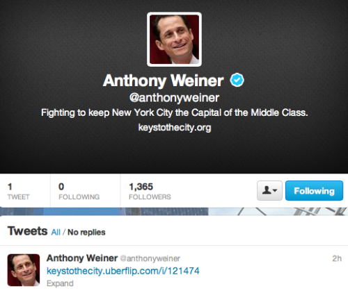 policygal:  brooklynmutt:  Anthony Weiner's new Twitter account  Freshly erected.  haha ew… ^