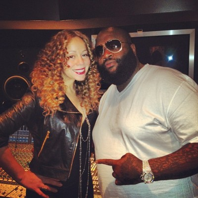 Check outGeechi LiberaceakaRicky Rozayin the studio withMariah Carey, with nothing but a white V-neck on and aFully Flooded Audemars Piguet Royal Oak Offshore Watch. Just another watch in the Bosses collection.