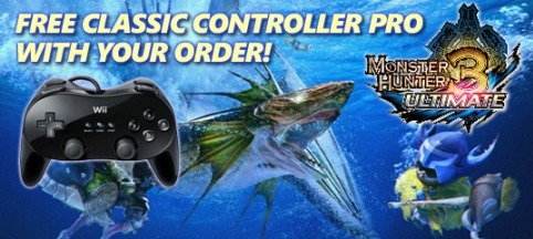 Get A Free Classic Controller Pro When You Pre-order Monster Hunter 3 Ultimate From Capcom I haven't touched my WiiU in about a month, but I'm pretty stoked for this game. The free controller just sweetens the deal even more.