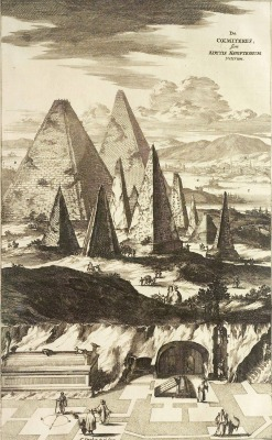 f-featherbrain:  The pyramids of Giza, imagined by Kircher based on traveler's reports, from Sphinx Mystagoga (1676)