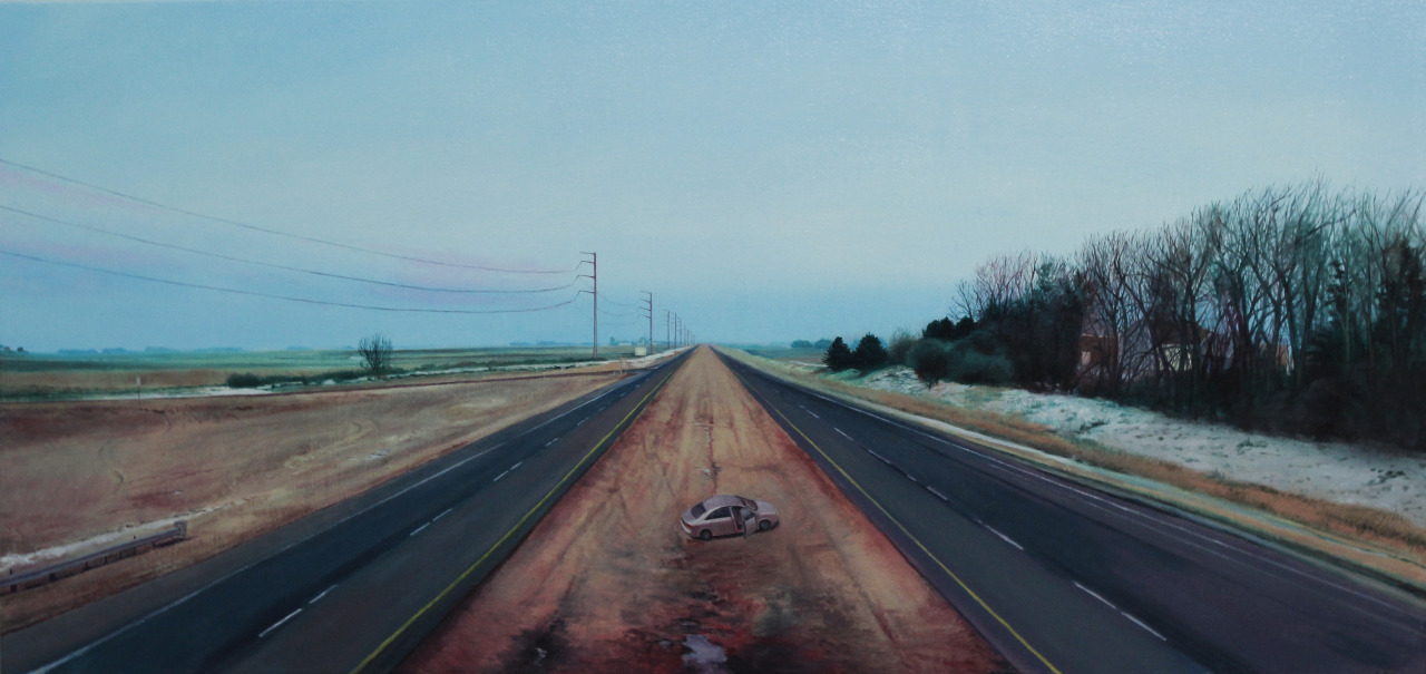 Nate Burbeck | on tumblr Near Worthington, Minn., Oil on Canvas, 20 x 42 inches, 2013 (see source photos here)