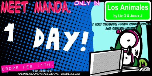 animalsoundsrecords:   Meet Manda. She's a Panda. Only in Los Animales, the NEW webcomic by Liz O & Jeaux J! A NEW webcomic about Music, Animals, and Broken Hearts. Dropping FEB. 14th! THAT'S IN 1 DAY!!! We're SOO EXCITED! for more info, follow us at Animal Sounds Records! Be one of the 1st to check out LOS ANIMALES when it launches! Check out the previous FB Cover headers HERE, and use 'em to help us spread the word! collect 'em all! -Jeaux