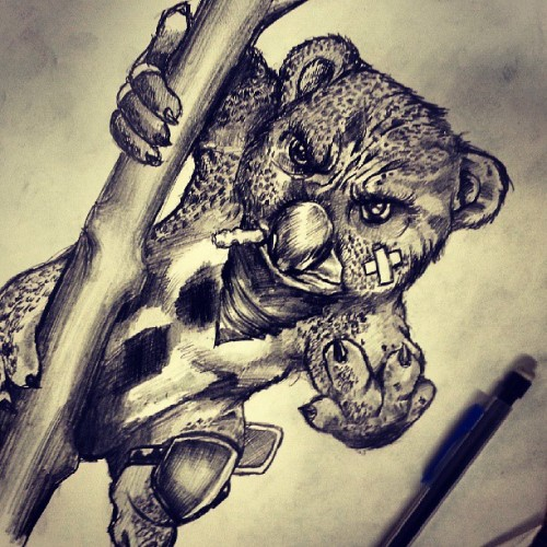 KILLA KOALA. TATTOO DESIGN FOR LA CLIENTELE #SLIMSDAILY #IKNOWITSWEIRD #WHOWOULDDOTHIS #IKNOW #LOL  #TATTOO #ART #TATTOOART #TATTOODESIGN #SKETCH # PENCIL #SHADING #DOPE #ISH #KOALA #ANIMAL #BLAH