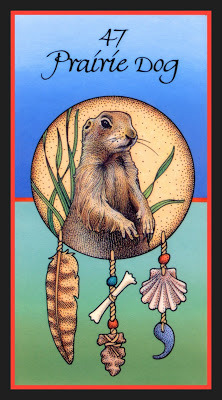 """Prairie Dog…calls me when it's time to rest, When it's time to honor the internal quest. I go into retreat so I may see, A way to replenish the potential in me.""Seriously it's from this book, Medicine Cards: The Discovery of Power Through the Ways of Animals, which I'm sure is so accurate."