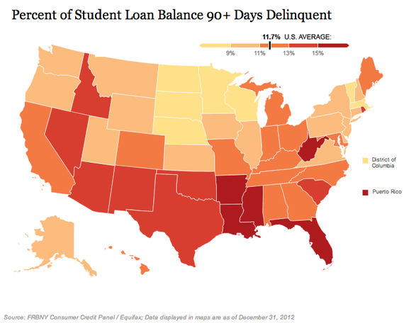 theatlantic:  These 2 Maps About Student Loans Explode One of the Biggest Myths About Student Loans  The media fixates on the overall size of student debt. But where you go to school, whether you graduate, and what kind of job you get later may matter much more. Read more. [Images: FRBNY Consumer Credit Panel]