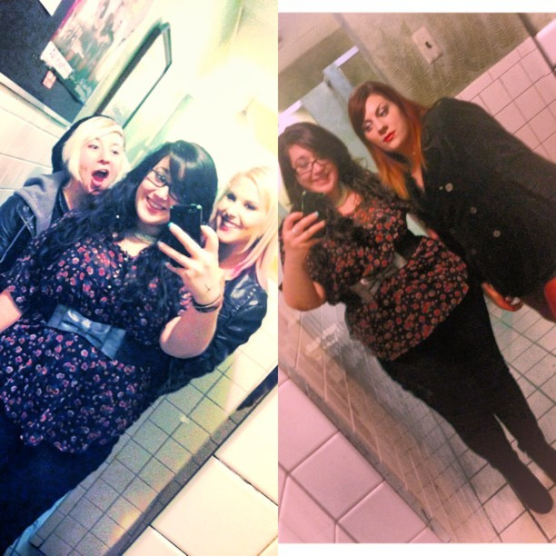 #thegirls! #mirrorpic #ladiesroom #lastnight #saturdaynight #pretty #ladies #cute #smile #memyselfandi #friends #love #silly #crossroads #bar #dressedtoimpress #drinks #alcohol @tigerstripeyerface @nateliza221 @sarah_zielski