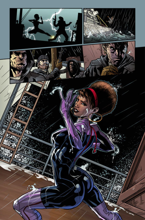 "iamdavidbrothers:     (via Marvel's Next Big Thing: Fearless Defenders with Cullen Bunn and Will Sliney) Afros and butts, two subjects that are near and dear to my heart, don't work like that.     This page… I want to like the silhouette in the first panel— I like silhouettes in general; I like how they're like, ""here's what you need to know"" without all the fuss. But the colors there— the lightning bolt at least on the preview page is smearing the gun barrel, plus don't love that yellow for the excitement lines hiding the fact the guy didn't want to and/or couldn't nail the foot.  (Tough pose but … I don't think the way that kick would land would be all that painful).  The yellow's drawing attention towards a problem area of the drawing, which— strange choice.  Not in love with the guy's left hand— but I always think of pain being an open-fingers kind of thing which maybe is a cliche… The next panel doesn't read— too far, plus a dull dead-center composition.  Where is he getting thrown from?  It just doesn't scan— it's just too far away and the colorist again— brown and grey against black?  I think he's trying to keep all the temperatures (or whatever it's called) cool or keep things kind of drab so that the girl pops more, which makes sense but … then the ladder is super-bright too so (didn't really nail the bottom of that)… I like the background behind the girl though, I guess.  But then what has this guy written?  Lady attacks guy (it's a lightning attack at the same time as a guy getting his ankle broken so if they put ""KRAK"" there, would you even know which they're referring to?), throws guy off boat, other guys are … standing there, and she's posing and flicking semen at them off her fingers or whatever?  Were the guys watching that whole time?  Or did they just arrive?  They're not really posed in motion so it just reads weird.  (Something off with the guy on the left's hoodie).  Visual hierarchy-wise, they're going far-shot, far shot, close-up, medium.  Which… so no rhythm to that.  (Also, the way the background is in panel 3 makes it look like there's two panels there— that's how I read it at first at least, because the line of the crate is pointing at the line of the border of panel 1.  So my eyes keep wanting to put a panel border there even though the slope of the line is slightly different…) And then this character— I don't really know anything about this character, but the big hoop earrings…? I don't know— the big hoop earrings make me kinda uncomfortable.  They feel like they're visual signifiers instead of jewelry, but I'm not sure I'm okay with that…?  Anyways, yeah, the pose is horrible (the colorist putting two shiney lights, one on each butt-cheek— that's not helping— why not just put an arrow with ""nudge nudge wink wink you know?"" written in it pointing towards where you're guessing the genitals go, while you're at it). Drawing hair's pretty difficult so I'm pretty forgiving there.  But I also don't really get this thing with superhero costumes now where they have all these little lines on them, like cutting things into slices— what's that about?  Everything looks like Tron to me anymore… I mean, Tron's okay, but… (I don't get what the red thing is…?  I don't know fashionz though…) Also: Fearless Defenders?  That's the title…?  Je-zus, how many times does Defenders have to get cancelled?  That comic was accidentally good for, like, 5 months in the 1970's when everyone was on drugs.  It's not going to happen again.  Anyways, aren't Bendis and Deodata doing a Heroes for Hire book in a couple months?  Isn't he going to want that character?  Just call it Cancelled Defenders.  But eh, it's some young kid drawing it probably, so I'm sure they'll get better.  On another book.  Because that one is probably already cancelled. Hopefully he gets to draw Spiderman's butt soon, all sexy and Spider-juicy— people like Spiderman; not the Defenders, Spiderman.  Anyways, lunch is over…"