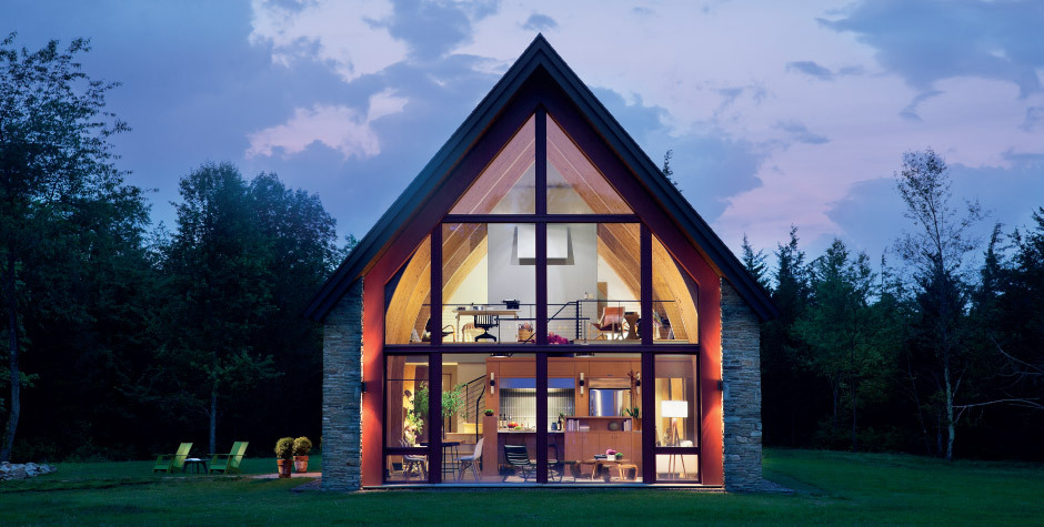 "trentgilliss:  Love how this ""passive"" home designed by architect Dennis Wedlick draws upon tiny churches and vernacular barns. Spirits will soar in this environs. More photos of the Hudson Passive Project."