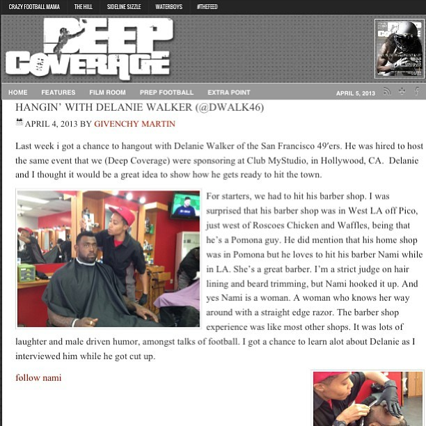 Go to www.deepcoverage.com and check out the article I'm featured in cutting Delanie Walker of the Tennessee Titans (formerly a 49er)!!! Follow @onlyoncamera46 and @deepcoverage #nfl #athlete #delaniewalker #tennesseetitans #49ers #football #deepcoverage #magazine #labarber #nami #namithebarber #only1nami #celebritybarber #haircuts #haircutsdontlie #barbershopconnect #pacinostheappvol2 #barber @barbershopconnect @barbersonlymagazine @barbersince98 @pacinos 💈✂
