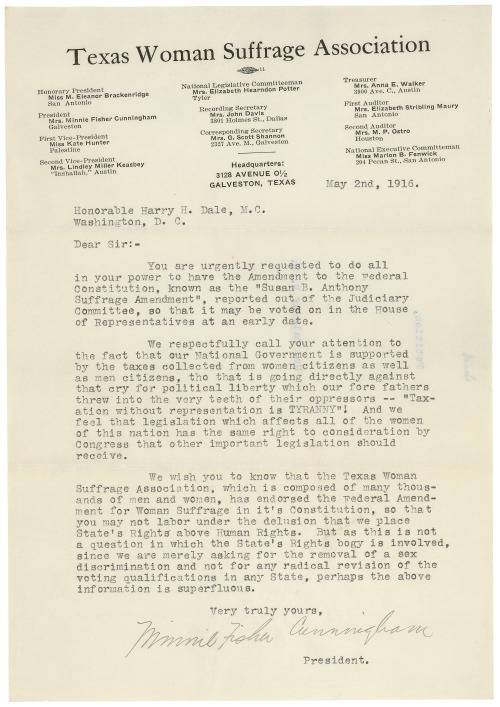 "congressarchives:  Petition from Minnie Fisher Cunningham of the Texas Woman Suffrage Association for passage of the ""Susan B. Anthony Amendment"" sent to Congress on May 2, 1916 The amendment passed Congress on June 4, 1919. It was ratified as the 19th Amendment on August 18, 1920. Petition from Texas Woman Suffrage Association, 5/2/1916, Records of the U.S. House of Representatives (ARC 306659)  Amazing piece of #Texas #Women's History"