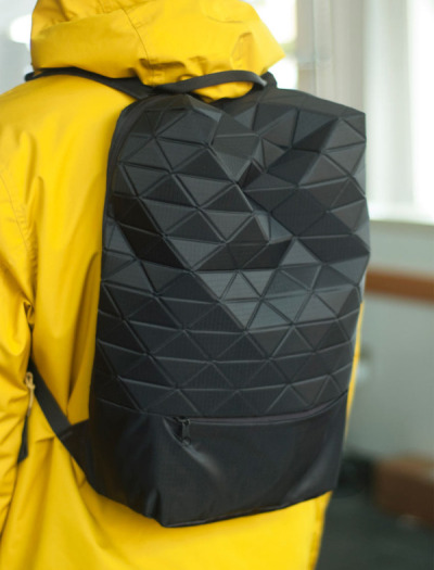 Jet Pack by Tessel Supply  The facets allows for an interactive playfulness, and the contents of the bag influences the form of the bag.