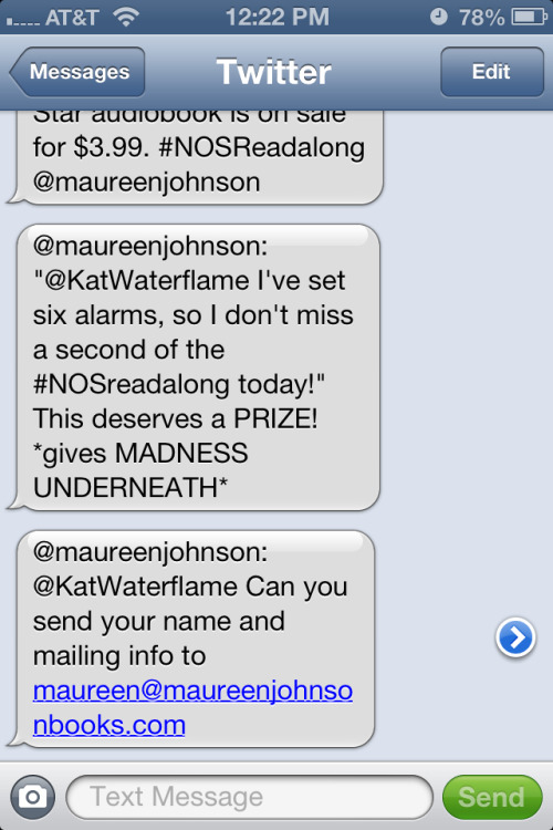 Hey, guys… Guys… Guys!!! Maureen Johnson is sending me a copy of Madness Underneath!!!!!! *FLAIL*