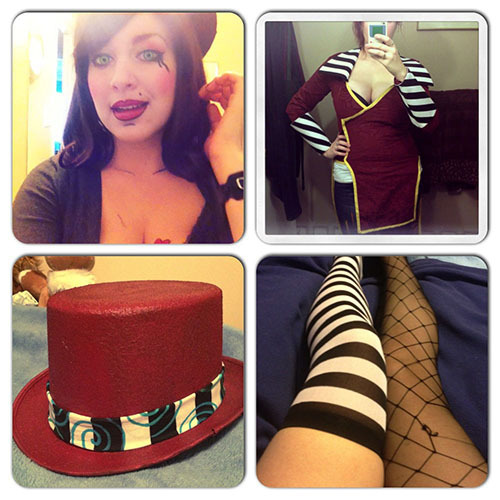 Oh hey look I put all of my Mad Moxxi progress pics in one place! sweeeet!! Still not a huge fan of the fencenets… should swap them for something smaller eventually. All I really need to do are the shoes and belts and jacket stripes and details/swirls/buttons.  Also feathers and my card for my hat…. Ahhhhh The group I'm in is going to be so awesome ;A; Anime North seriously needs to get here faster. I'm a little excited.