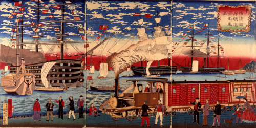 """ Steam Locomotive along the Yokohama Waterfront by Hiroshige III, ca. 1874 """