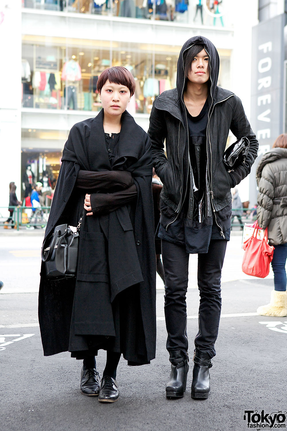 Cool all-black looks in Harajuku w/ Limi Feu, Monomania, Comme des Garcons & Rick Owens.