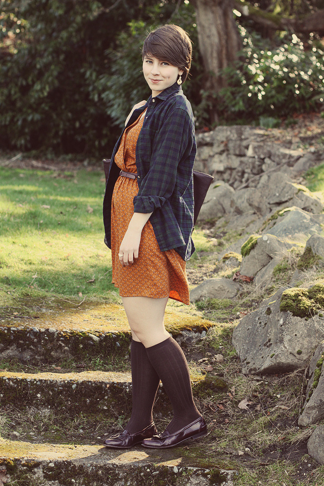 Brown knee high socks with orange dress and dark blue checkered shirt