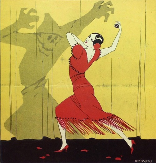 illustration art oskar garvens skulls skeletons horror dance dancing