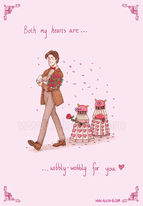 My wibbly-wobbly hearts are all yours! By the 11th incarnation, the Doctor has had 22 hearts in total! Surely enough to go around? I bags a few! Card available on Redbubble here!