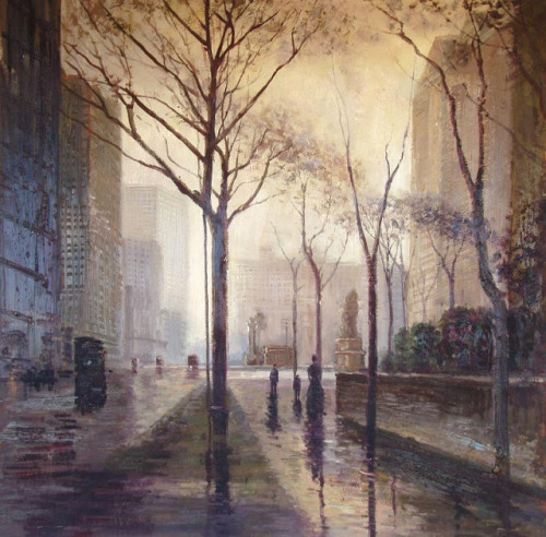 The Plaza After Rain by Paul Cornoyer