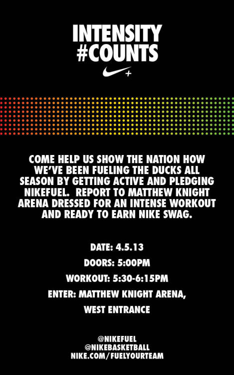 Oregon Pit Crew: Nike Fuel To Come To Matthew Knight Arena Tomorrow Share this post on your page if you will be there at the University of Oregon.