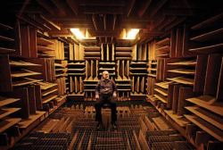 legallyblindobservations:   The World's Quietest Room Scientists at Minneapolis' Orfield Labs created their own soundless room, an anechoic chamber. Their studies have found that when putting subjects within the chamber, they begin to hallucinate within 30 minutes.  With an average quiet room having a sound level of 30 decibels, the anechoic chamber's sound level is -9 decibels. The ceiling, floor, and walls of the chamber absorb sound rather than have it bounce off as normal objects do. The chamber is so quiet that the subjects can even hear their own organs functioning. Although extremely interesting, the experience is rather unpleasant. Not one subject has spent more than 45 minutes in the chamber alone. Leaving a person to only their thoughts, the chamber could drive them insane.