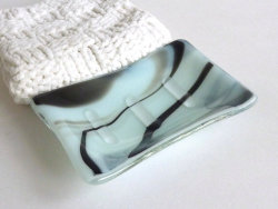 Fused Glass Soap Dish in Seafoam and Black