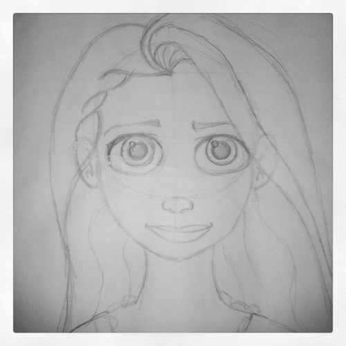 I drew #Rapunzel from #Tangled yesterday at #HollywoodStudios #MGM #animation #animator #Disney #drawing #art #sketch