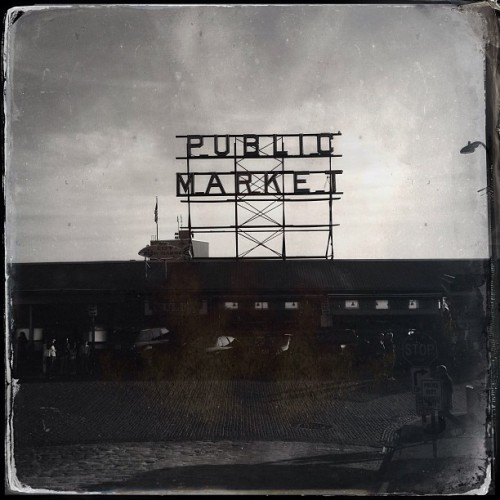 THAT Sign. #noirstagram  (at Pike Place Market)