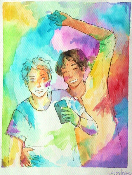 "bacondraws:  ""Holi is a festival celebrated in north India. It marks the coming of Spring. Holi is a colourful festival, with dancing, singing, and throwing of powder paint and coloured water. Bonfires are lit and roasting grains, pop corn, coconut and chick peas are thrown on by Hindu families The next day, people of all ages go into the streets for fun and paint-throwing. Everyone gets involved - with no distinctions between caste, class, age or gender. Hindus have fun by smearing each other with paint and throwing coloured water at each other, all done in a spirit of celebration"" Taking out a phone and taking pictures while possibly getting wet and covered in paint is a rather bad idea, but Prussia must update his blog (oh, and I'm taking commissions again)"