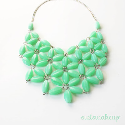 scissorsandthread:  J.Crew Inspired Necklace | Owlswakeup Though this design looks quite complicated, once you have your beads prepared, it's just a matter of connecting the pieces together. Plus, instead of having to spend $100 on a necklace, you can make it for around $10! That's pretty motivational for me!
