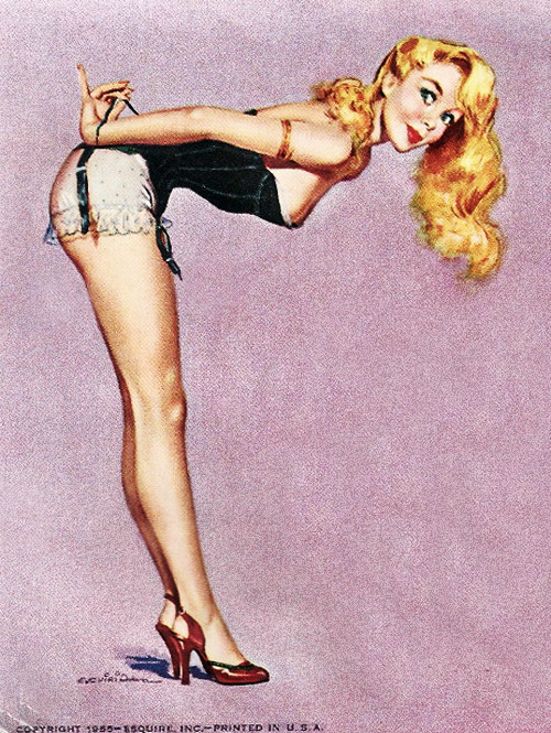 vintagegal:  Illustration by Ernest Chiriaka, for the 1956 Esquire Pin-up Girls Calendar