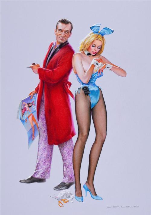 pinupcraze:  Don Lewis - Hugh Hefner and his playmates