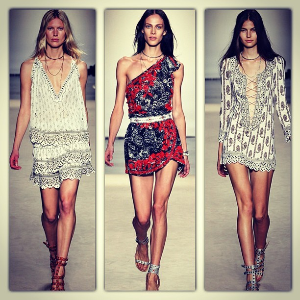 Stand out pieces from the Isabel Marant's SS13 runway show in store now! #isabelmarant #fashion #shop #ss13 #runway #model #print #bohemian #parlourx #instacollage