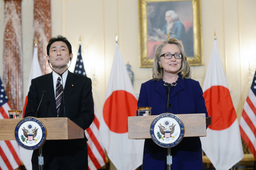 U.S. Secretary of State Hillary Rodham Clinton delivers remarks with Japanese Foreign Minister Fumio Kishida at the U.S. Department of State in Washington, D.C. on January 18, 2013. [State Department photo/ Public Domain]