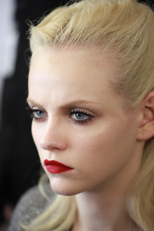 Ginta Lapina backstage at Miu Miu Fall 2011
