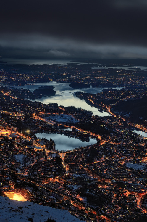 travelingcolors:  Bergen from Mt. Ulriken | Norway (by Arne Halvorsen)