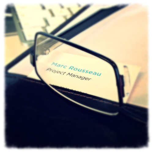 Screwing around with my new glasses and business card