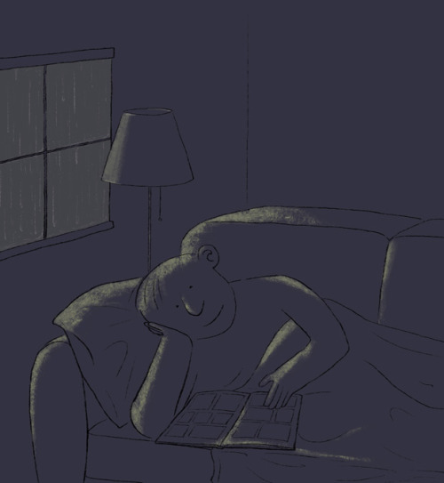 Reading in dim light / Lectura en penumbra (ilustración de Jérémie Decalf)