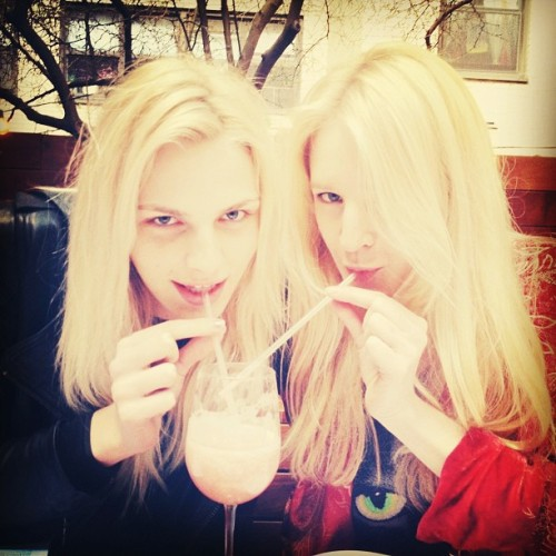 andrejpejicpage:  Andrej Pejic and Elle Muliarchyk at Pure Food and Wine. Source: ellemuliarchyk IG