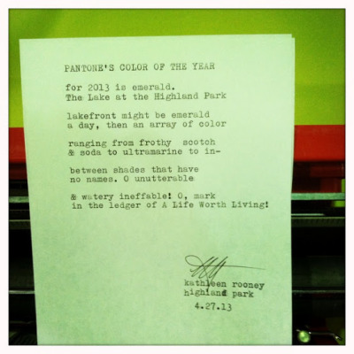 """Pantone's Color of the Year"" by Kathleen Rooney — Highland Park Librarypalooza, 4.27.13 Poem topic: ""Highland Park's Lake Front"""
