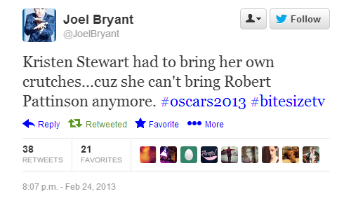 Best burn of the night goes to @JoelBryant