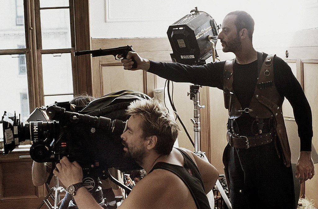 suicideblonde:  Luc Besson and Jean Reno during the filming of Leon