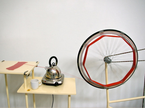 Un-knitting machine http://www.ecouterre.com/pedal-powered-un-knitting-machine-unravels-sweaters-to-recover-their-yarn/