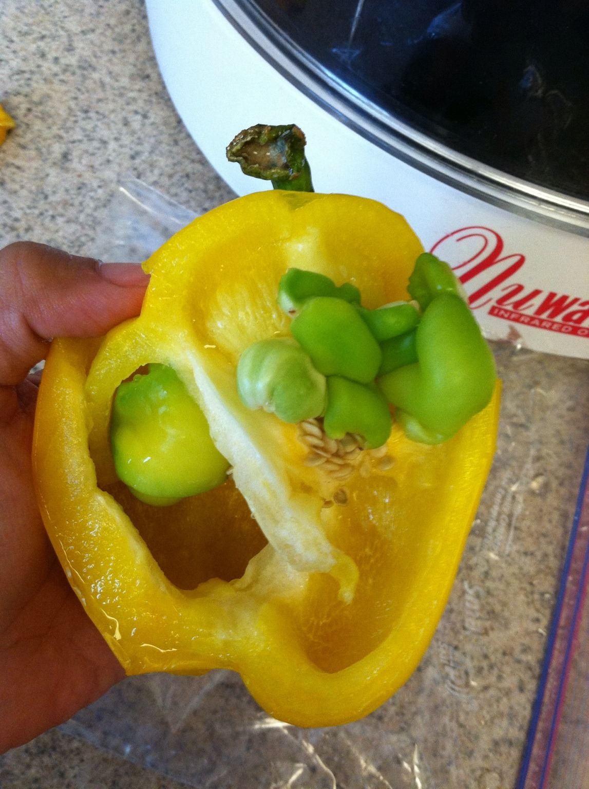 Amazing how these little peppers were growing inside a full grown yellow pepper. – View on Path.