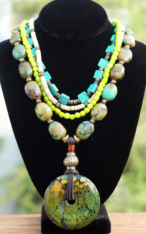 Tortuga: Exotic Chartreuse, Aqua, Glass, Bone and Green Turquoise Disc Necklace Click to buy