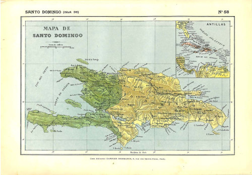 Hispaniola Antique Map, 1910s, Dominican Republic, Haiti, 100 Years Old Lithograph at CarambasVintage http://etsy.me/10FVwO1