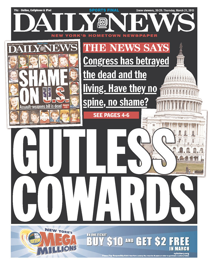 """hypervocal:  A day after excoriating Congress with a powerful """"Shame on U.S."""" front cover that took the U.S. Senate to task for removing the assault weapons ban from the larger gun reform bill, the New York Daily News is keeping pressure on DC. You might call this unrelenting, unfettered advocacy journalism. CHECK ALL THIS OUT HERE.  Unflinchingly meta,but unflinching all the same. HV's right. Great advocacy journalism."""